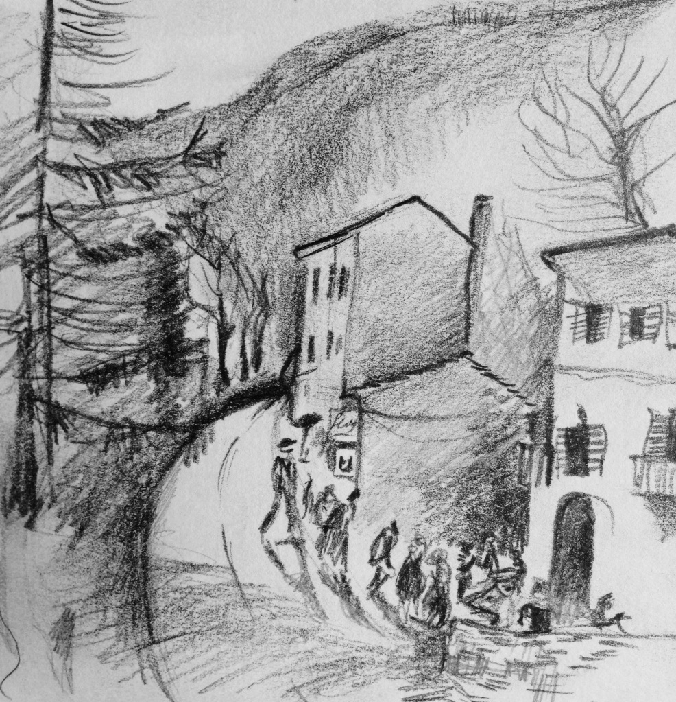 Hitch hicking through the mountains on the way to Bologna....no rides for a really long time, so I drew this picture...and then started walking.