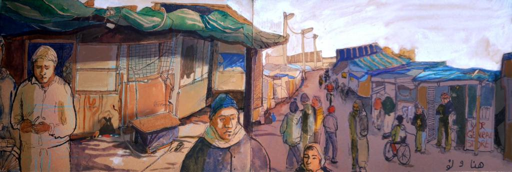 Reportage illustration of the Calais jungle, created in collaboration with Louise Philia Druelle documenting the streets, shops and livelihoods which are under threat of destruction in the evictions.