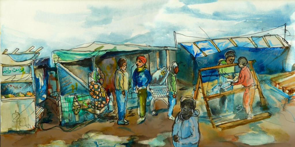 Reportage illustration of the Calais jungle, documenting the streets, shops and livelihoods which are under threat of destruction in the evictions.