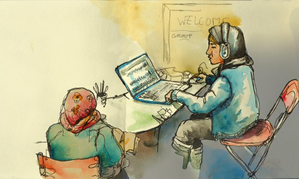Reportage illustration of the Calais Jungle. Two young girls learning to sound edit in the newly established radio hut.