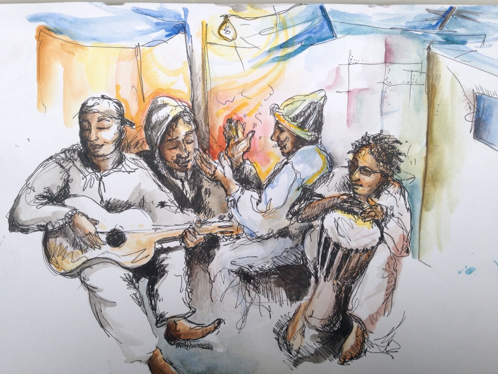 In July 2015 I went down to Calais to document Eid through art and music with Harriet. This is an image from our night with the Sudanses musicians. For the story visit http://brushandbow.com/2015/07/28/sounds-of-eid-from-within-the-sudanese-camp-calais/