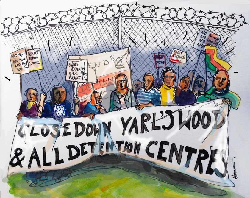 A series of illustrations for the SOAS Zine. Highlighting the Justice for Cleaners campaign and the Divest from Detention movement.