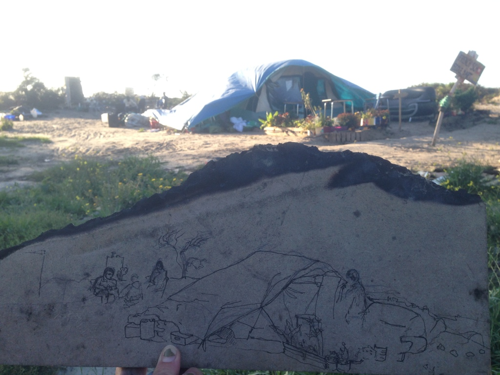 Sketching homes in the Calais Jungle on discarded material. A ghetto which has emerged in the shadow of the motorway, the border between Europe and the Uk. The product of sick politics which is driven by fear, but within it are examples of the best of humanity, support, generosity and resilience, as life must go on even in the most oppressive circumstances.